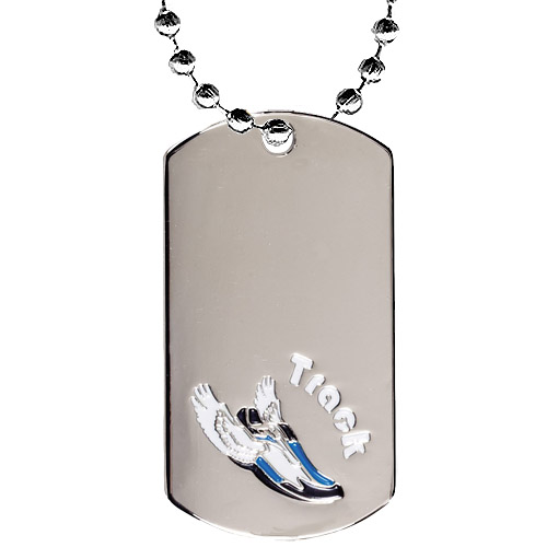 "2"" Chrome Track Dog Tag w/ 24"" Chain"