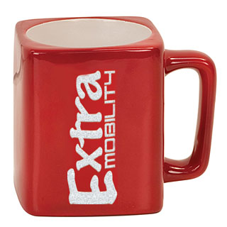 8 oz. Square Ceramic LaserMug - Red