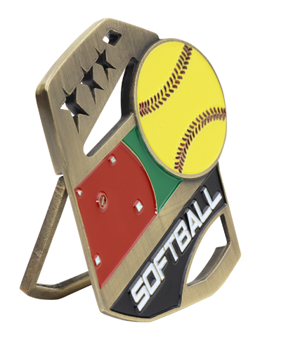 Color Pop Up Softball Medal