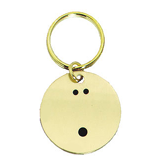 "1.5"" Polished Brass Keychain - Bowling"