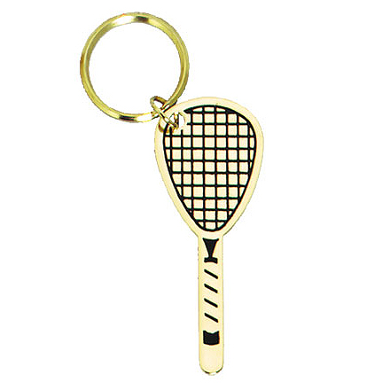 "2"" Polished Brass Keychain - Racquetball"