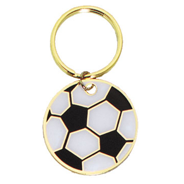 1.75 in Full Color Brass Keychain - Soccer