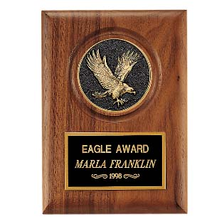 "5"" x 7"" American Walnut Eagle Medallion Plaque"