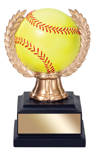 6 in Softball Trophy with wreath