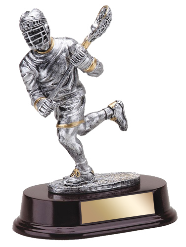 "7 1/2"" Resin Lacrosse Trophy with Wood Base"