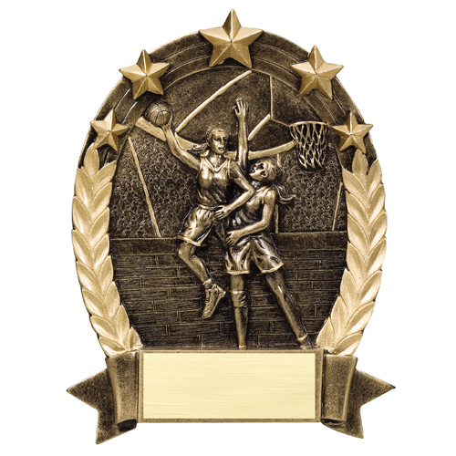 Female Basketball Star Resin Trophy