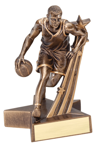 "6-1/2"" Shooting Star Male Basketball Trophy"