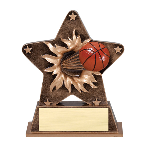 "5 1/4"" Starburst Resin Basketball Trophy"