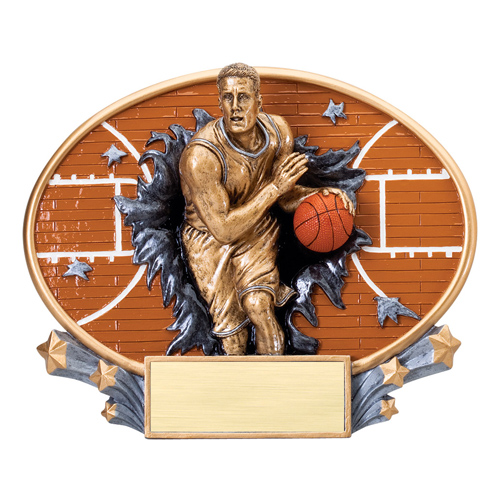7 1/4 in x 6 in Xplosion Oval Male Basketball Resin Trophy