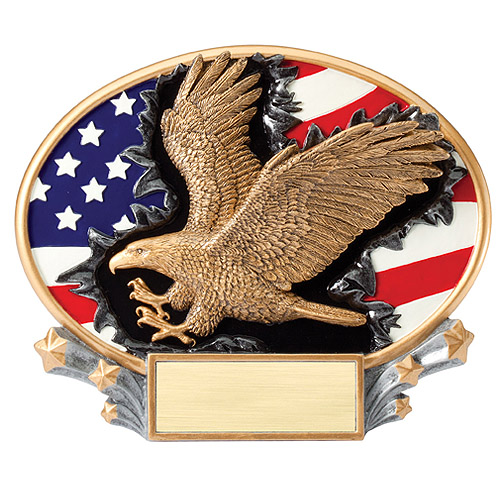 7.25 in x 6 in 3D Xplosion Eagle Oval Resin Trophy