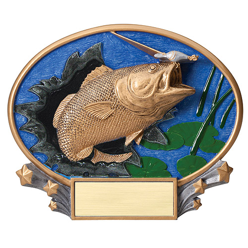"7.25"" x 6"" Bass Fishing Oval Resin Trophy"