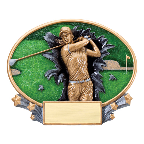 "7 1/4"" x 6"" Xplosion Oval Female Golf Resin Trophy"