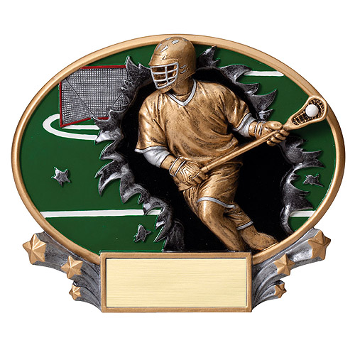 "7.25"" x 6"" 3D Xplosion Male Lacrosse Oval Resin Trophy"