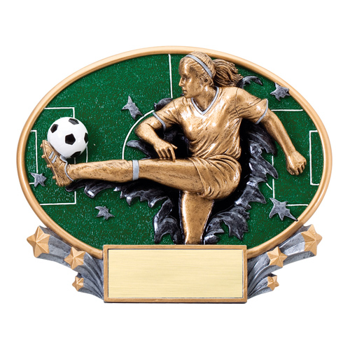 "7 1/4"" x 6"" Xplosion Oval Female Soccer Resin Trophy"
