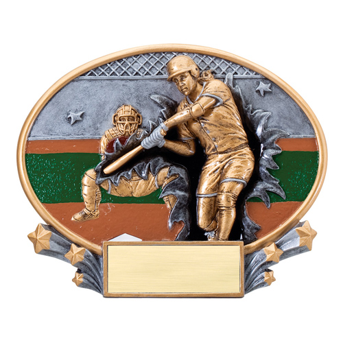 "7 1/4"" x 6"" Xplosion Oval Softball Resin Trophy"