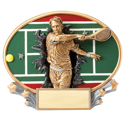 "7.25"" x 6"" 3D Xplosion Male Tennis Oval Resin Trophy"