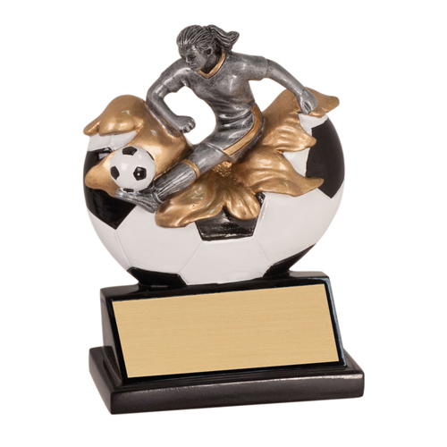 "5 1/4"" Xploding Resin Female Soccer Trophy"