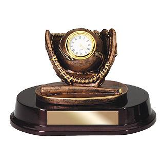 5 in Baseball Bronze Sports Clock Resin