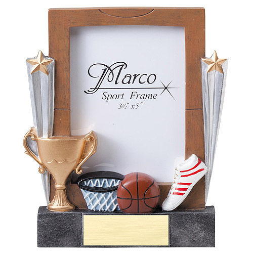 "7-1/4"" Basketball Resin Photo Frame"
