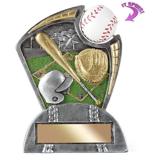 "6"" Baseball Resin Trophy w/ Spinning Sports Ball"