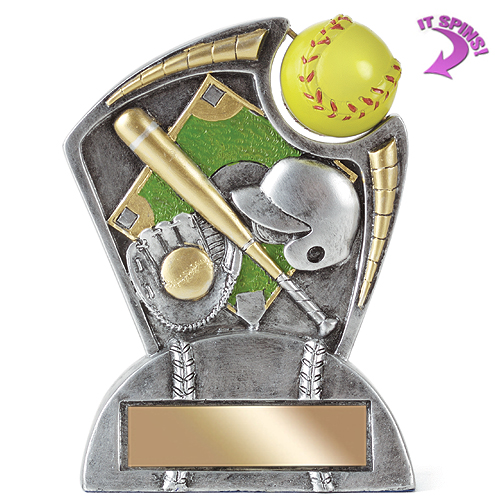 "6"" Softball Resin Trophy w/ Spinning Sports Ball"