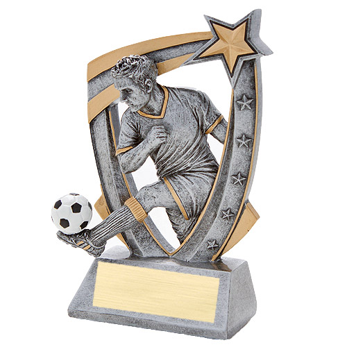 3-D Male Soccer Star Resin Trophy
