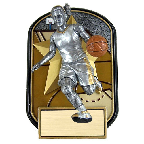 6.5 in Rock n Jox Female Basketball Resin Trophy