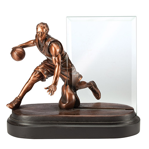7 in Basketball Resin w/ 4 in x 6 in Engraving Glass