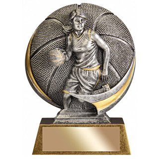 Female 5 in 3D Resin Basketball Trophy