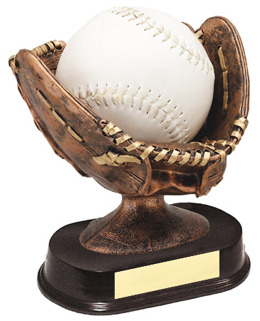 6 in Resin Sculpture Softball Glove Ball Holder