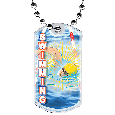 "2"" Swimming Dog Tag w/ Epoxy Dome Graphics"