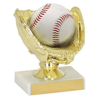 4-3/4 in  Baseball Holder Trophy - Gold