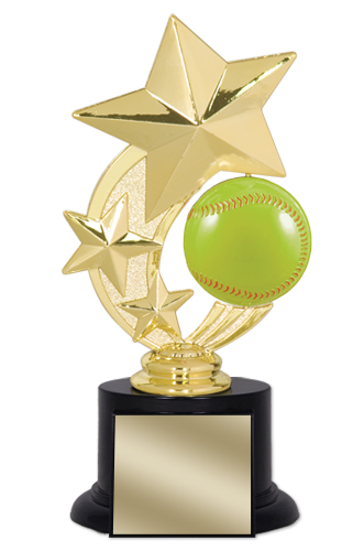 "7"" Softball Trophy with Round Black Base"