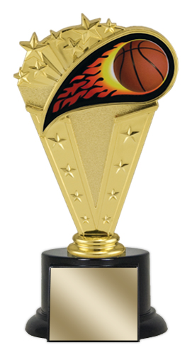 "8"" Basketball Trophy with Round Black Base"