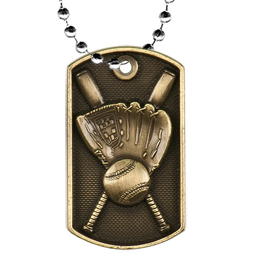 "2"" 3D Baseball Dog Tag w/ 24"" Chain"