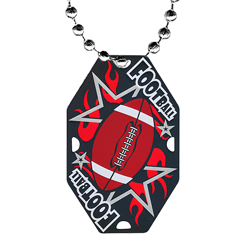 "2.5"" Football Dog Tag w/ Chain"