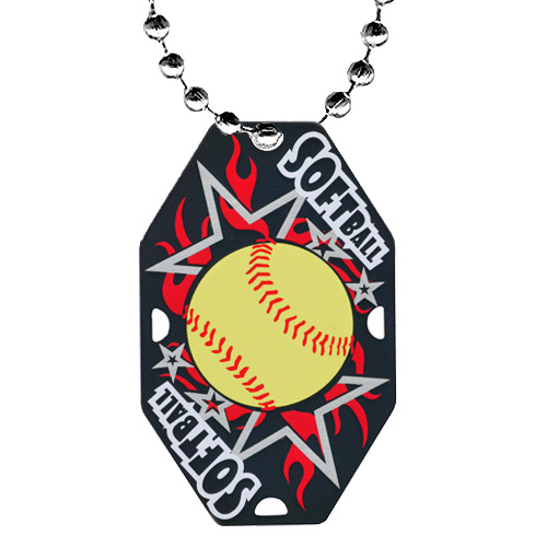 2.5 in Softball Dog Tag w/ Chain