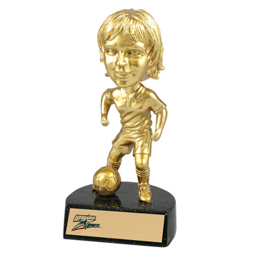 6 in Resin Female Soccer Bobblehead Trophy