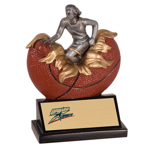 "5 1/4"" Xploding Female Resin Basketball Trophy"