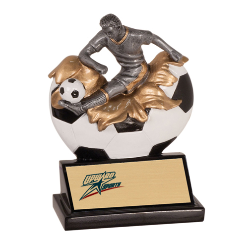 "5-1/4"" Xploding Male Resin Soccer Trophy"