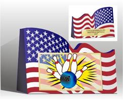 6 inL  x  4-1/2 inH American Flag Bowling Trophy