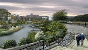 An artistic rendering of the Historic Fourth Ward Park