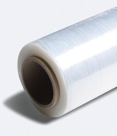 Stretch film roll packaging side