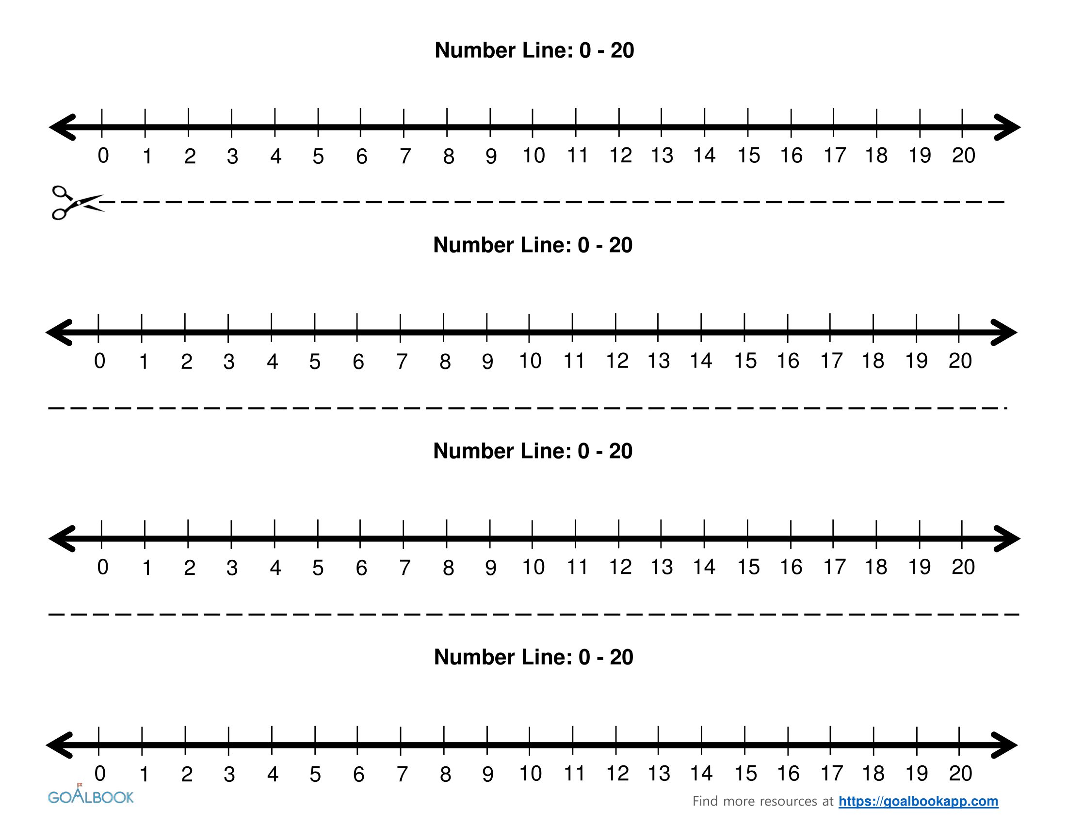 worksheet Printable Number Lines printable number line to 20 kindergarten counting worksheets worksheet lines gabrieltoz for whole numbers chunked 3 2