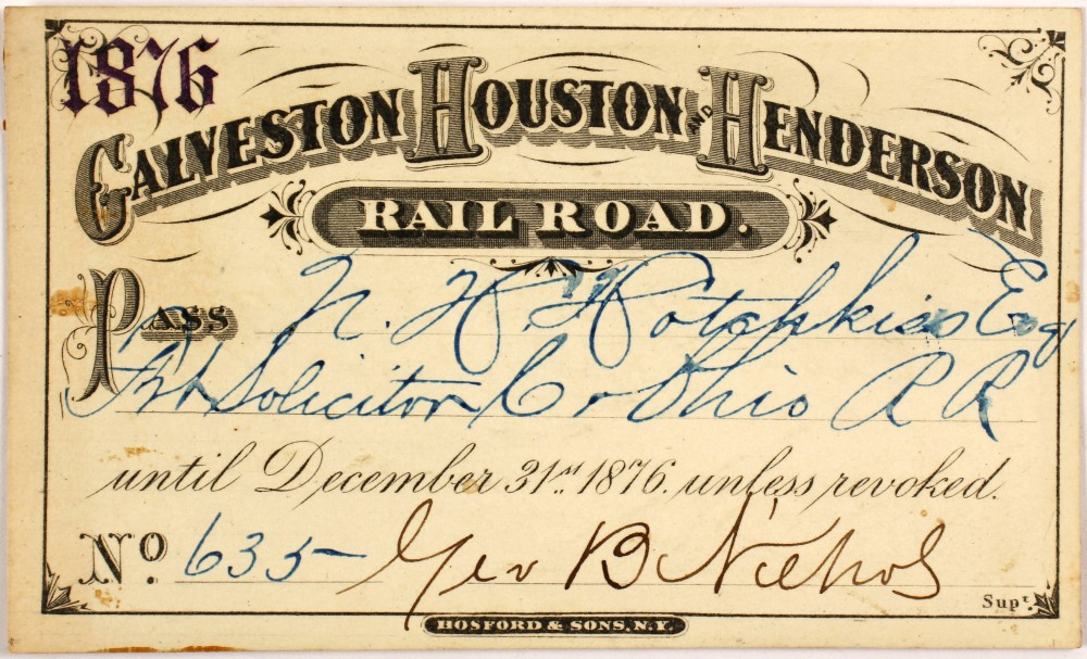 Lot 4153 - 1876 Galveston, Houston And Henderson Railroad
