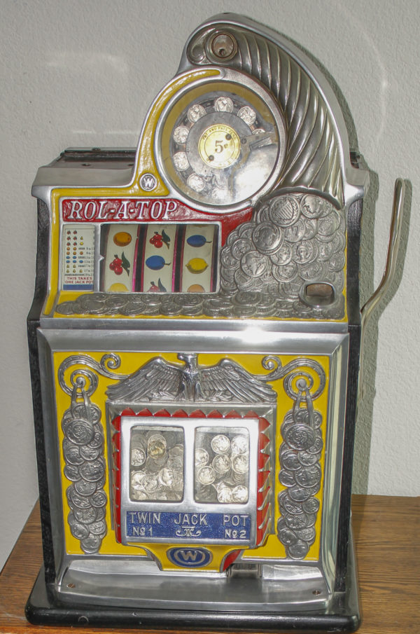 Lot #2408 Watling 5¢ Twin Jackpot Rol-A-Top W/Eagle Slot Machine