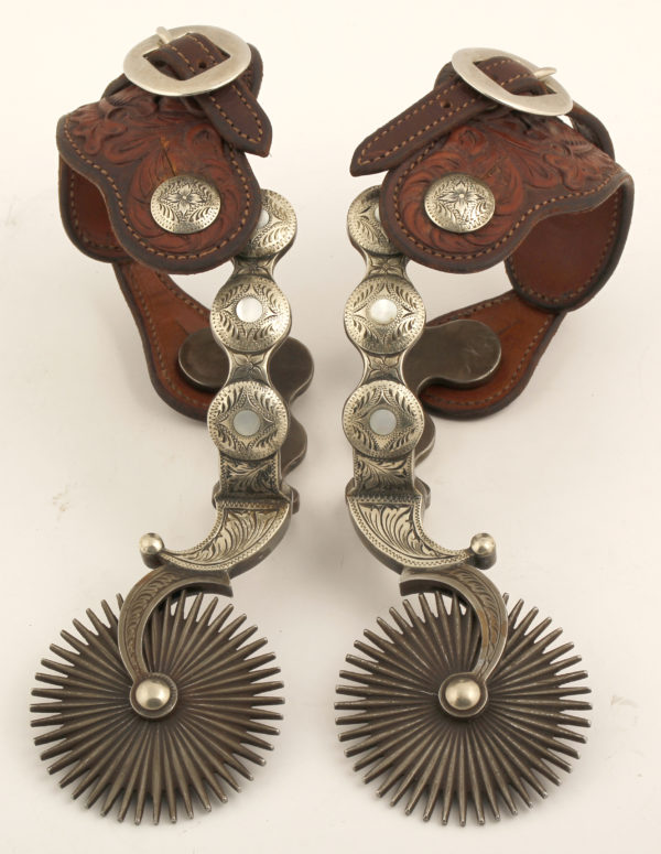 Lot #1178  L&M Double Mounted Silver Spurs