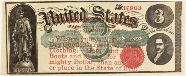 Lot #2333 F. Johnson Dry Goods Advertising Note