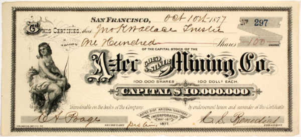 Lot #1318 Aztec Gold And Silver Mining Company Stock Certificate