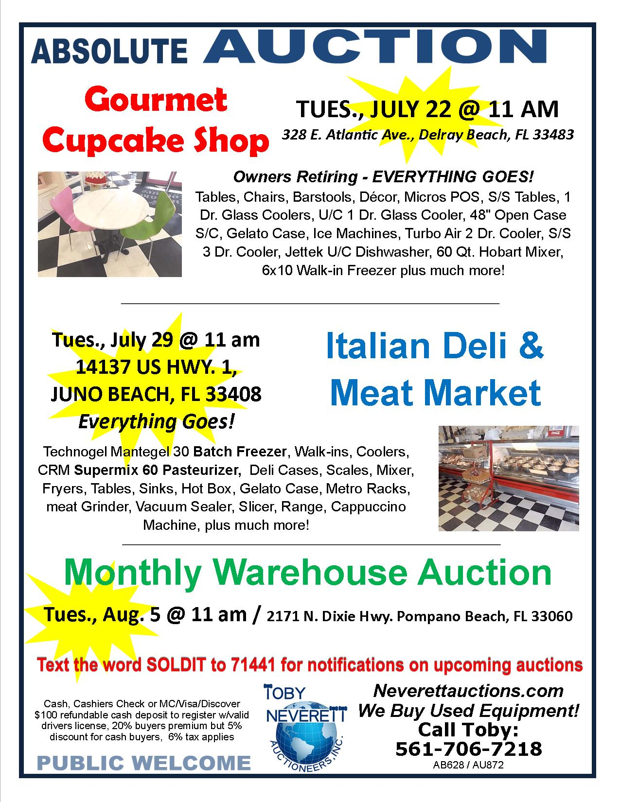 FLYER FOR 3 Auctions July